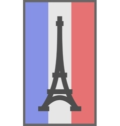 Paris symbol on flag of france background vector