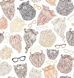 Seamless pattern of various beards and eyeglasses vector