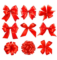 Big set of red gift bows with ribbons vector