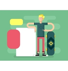 Skateboarder with advertising vector