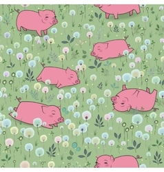 Happy pigs on the blossoming field vector