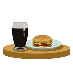 Cola and a delicious burger vector