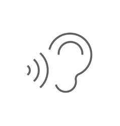 Ear and sound waves line icon vector