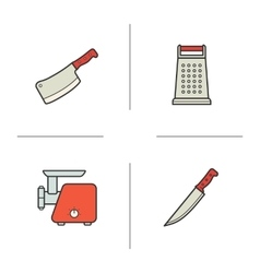 Kitchen equipment color icons set vector