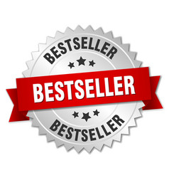 Bestseller 3d silver badge with red ribbon vector