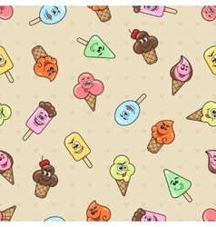 Cartoon character ice cream seamless pattern vector