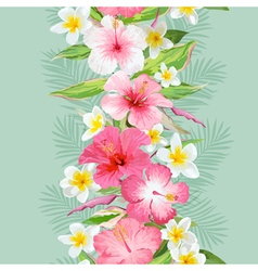 Tropical leaves and flowers background vector