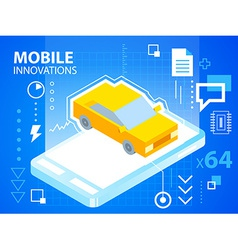 bright mobile phone and car on blue backgrou vector image