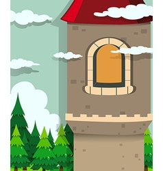 Castle tower and pine trees vector image vector image