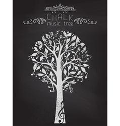 Chalk music tree on blackboard background vector