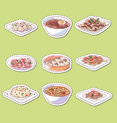 Chinese cuisine dishes isolated labels vector