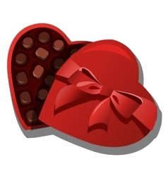 Chocolate box of chocolates in heart shape vector