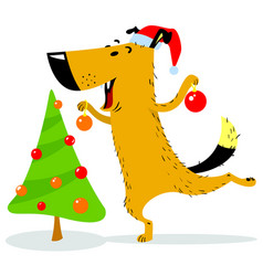 Christmas dog character a cheerful pet decorates vector