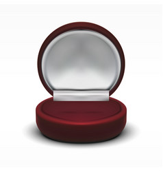 Clear round red velvet opened jewelry gift box vector