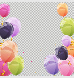Color glossy balloons transparent background vector