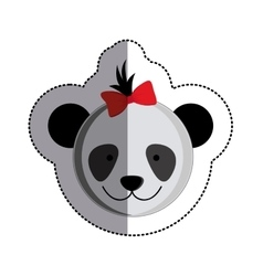 color sticker with female panda head and middle vector image
