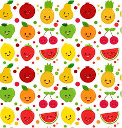 cute happy smiling funny raw fruit vector image vector image