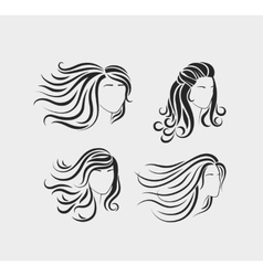 Female head silhouettes with long hair vector image vector image