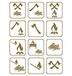 Firewood ax and matches icons vector