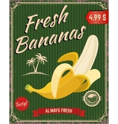 Fresh bananas Banana in retro style vector image vector image