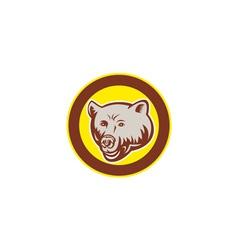 Grizzly bear head circle retro vector