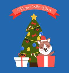 Happy new year tree and dog vector