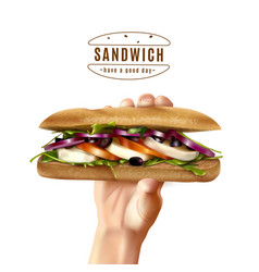 Healthy sandwich in hand realistic image vector