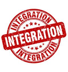 Integration red grunge stamp vector
