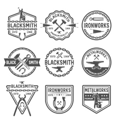 Ironworks black white emblems vector