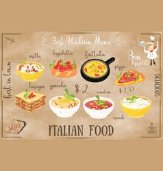 Italian food menu vector