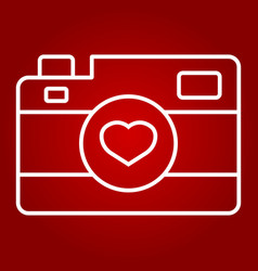 love camera line icon valentines day and romantic vector image vector image