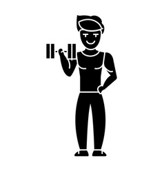 man strong doing exercises with weights in gym vector image