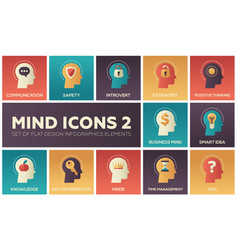 mind icons - modern set of flat design vector image vector image