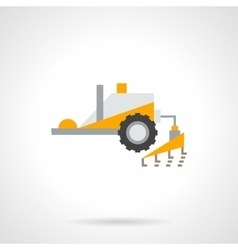 Plowing tractor flat color icon vector