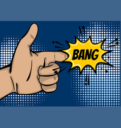 Pop art strong man hand show finger bang vector