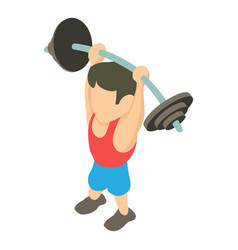 Powerlifter icon isometric 3d style vector