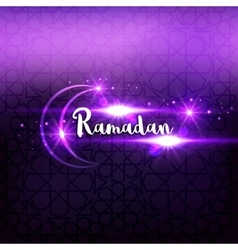 Ramadan arabic islamic lettering dark glowing vector