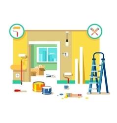 Renovation apartment flat design vector