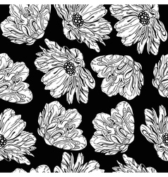 seamless black flowers vector image vector image