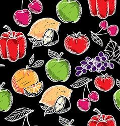 Seamless pattern fruitchalkboard vector image