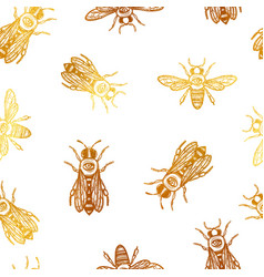 Seamless pattern with bees bees with eye vector
