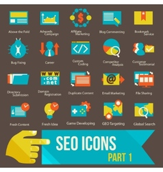 Seo icons set part 1 vector