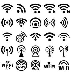 Set of twenty five wifi icons vector