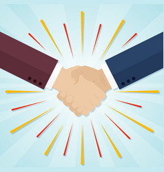 shaking hands with abstract rays partnership vector image vector image