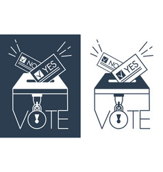 silhouette voting icons in linear style vector image