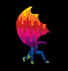 Strong man superhero landing action vector