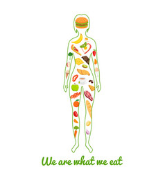 we are what we eat silhouette of girl with meal vector image vector image