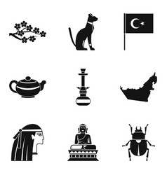 Worship icons set simple style vector