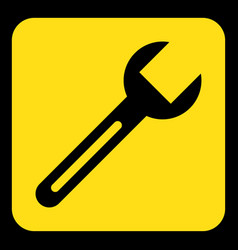 yellow black information sign - spanner icon vector image vector image