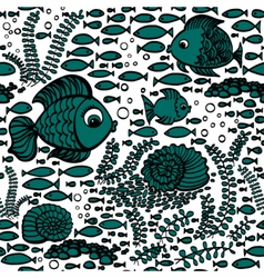 Blue hand drawn fishes vector